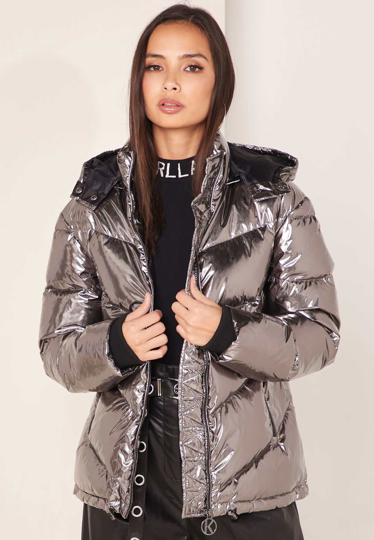 Metallic Quilted Hooded Jacket