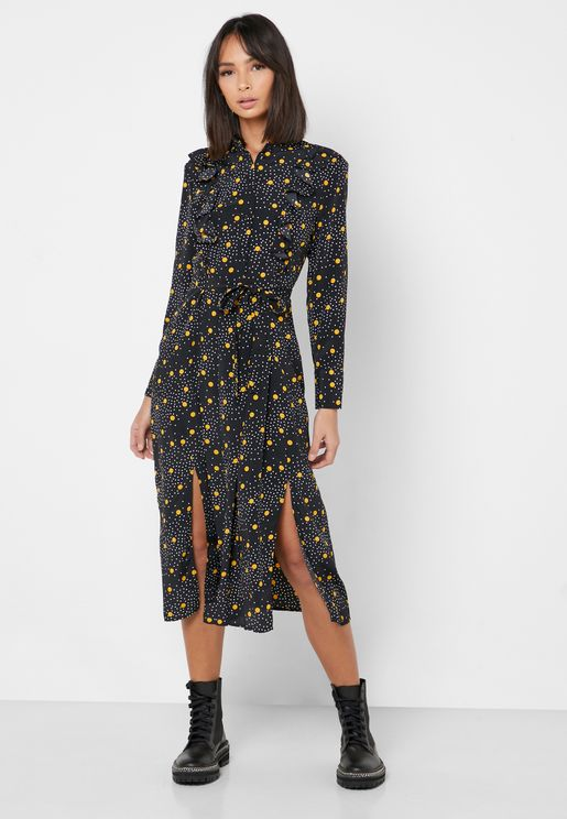Printed Ruffle Hem Shirt Dress