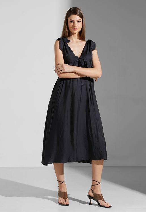 Plunge Neck Ruffle Detail Dress
