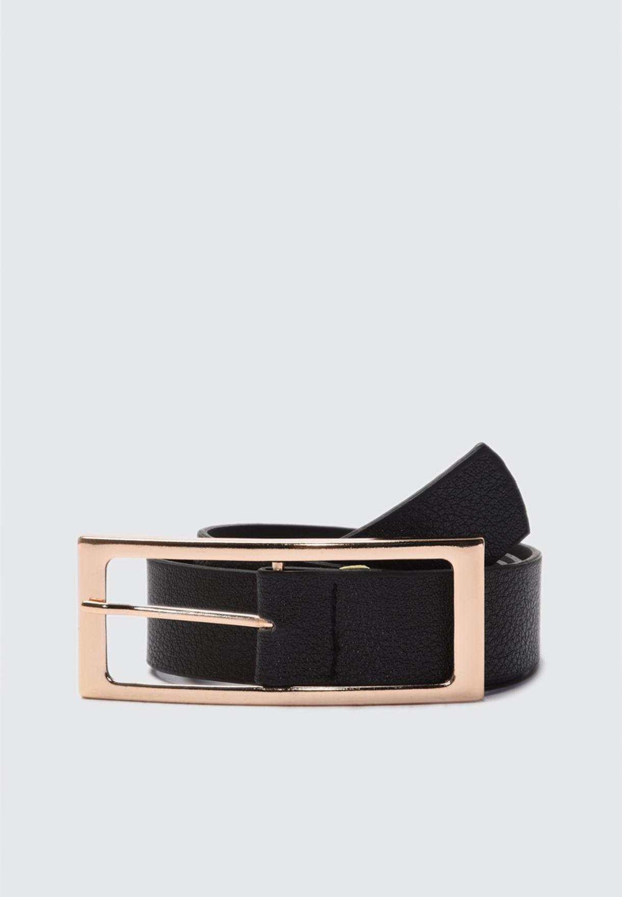 Black Buckle Leather Look Belt