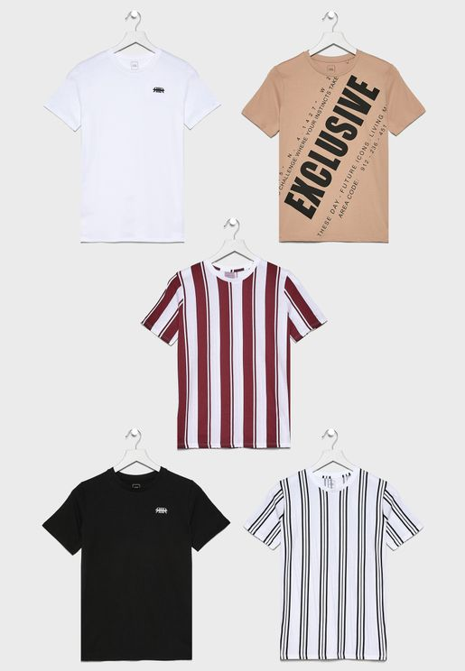 Kids 5 Pack Striped T-Shirt