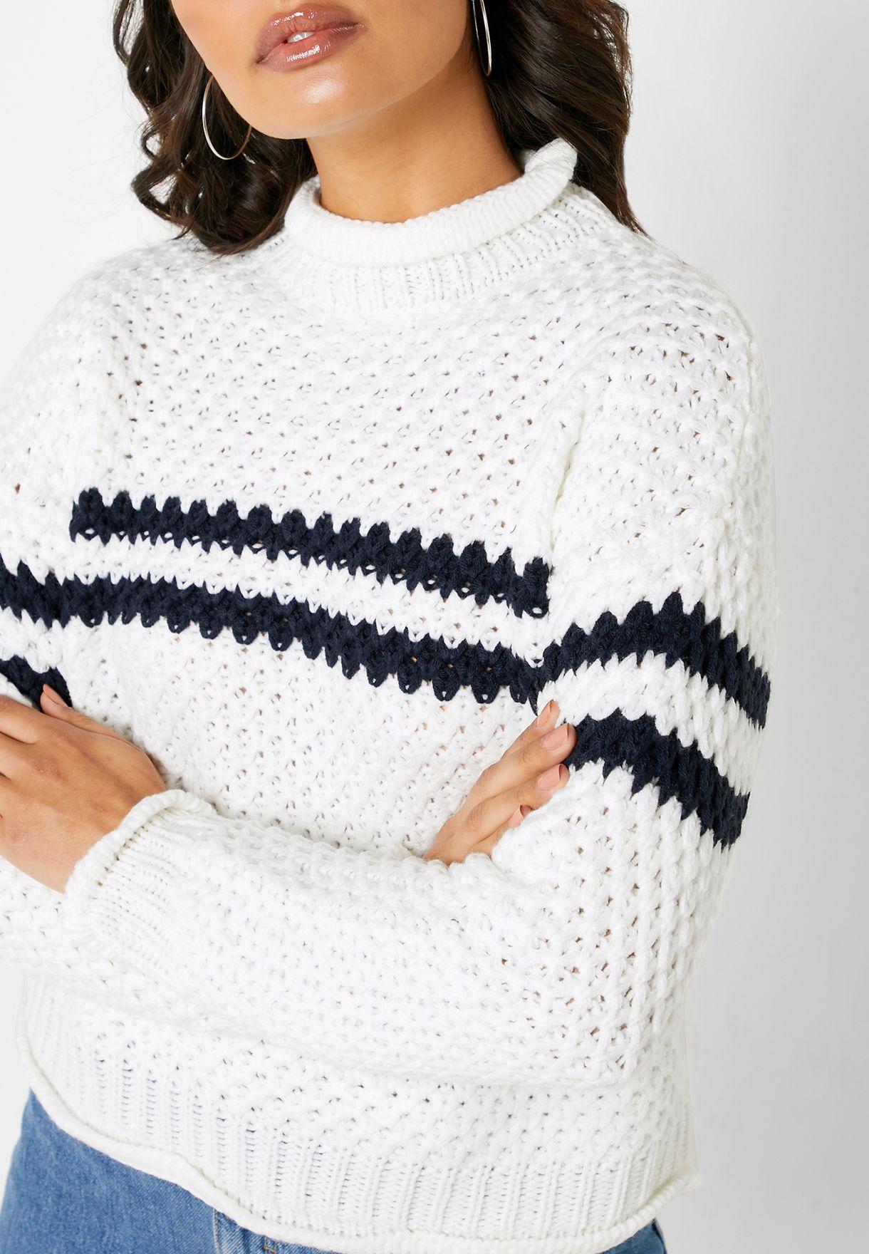 Openwork Striped Sweater