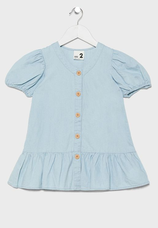 Kids Mid Wash Denim Dress