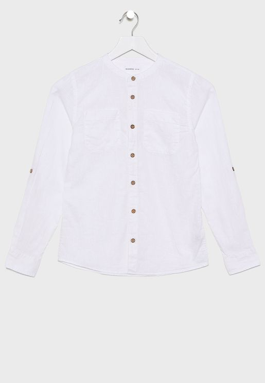 Kids Shirt With Stand Collar