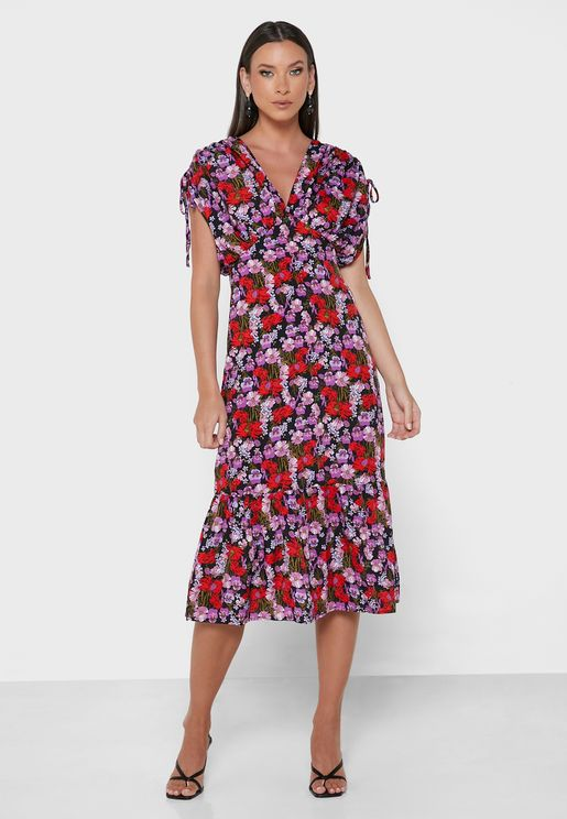 Plunge Neck Floral Print Dress