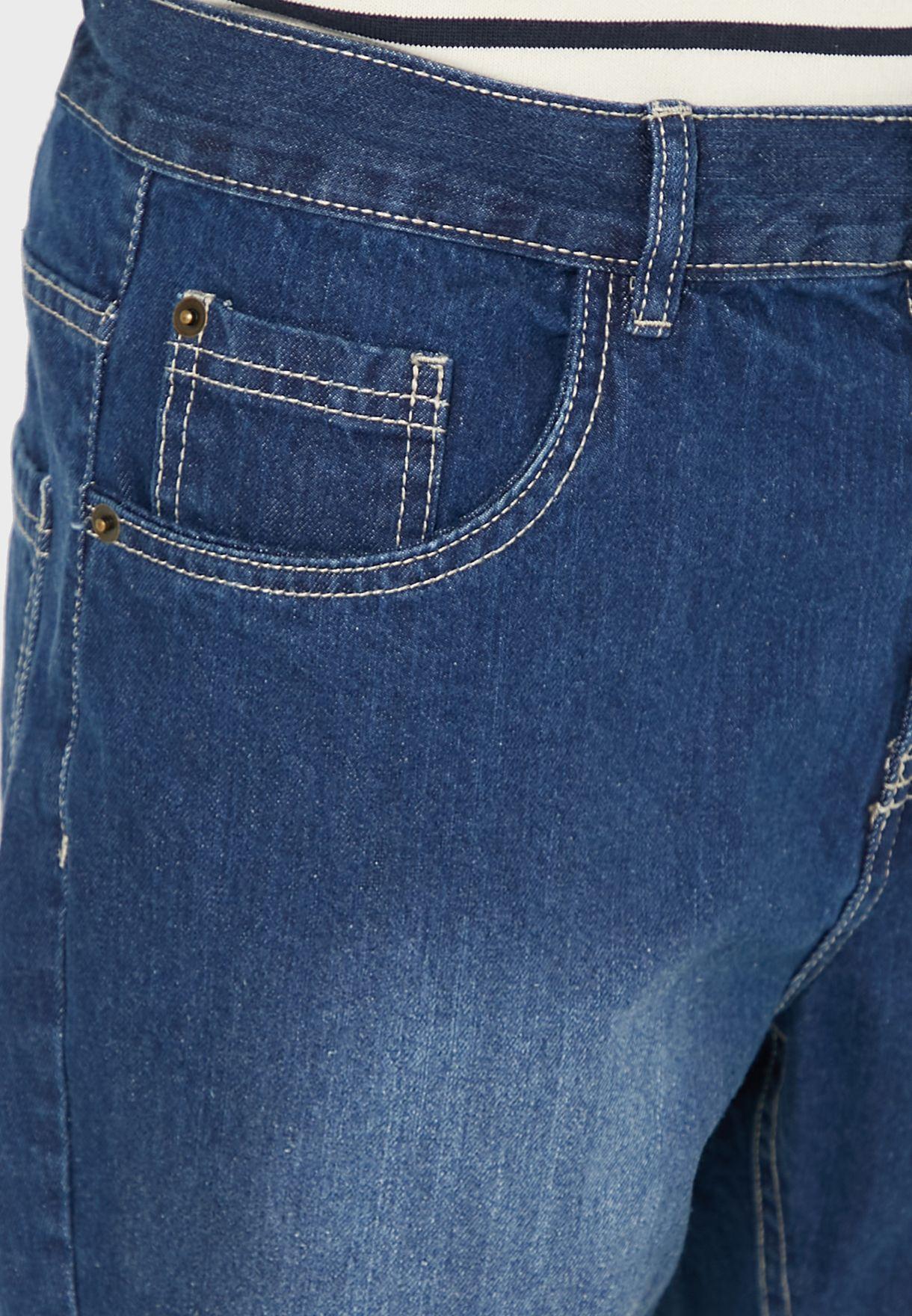 Turn Up Hem Washed Denim Shorts