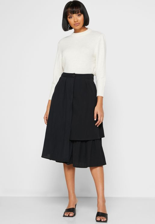 Tailored Layered Midi Skirt