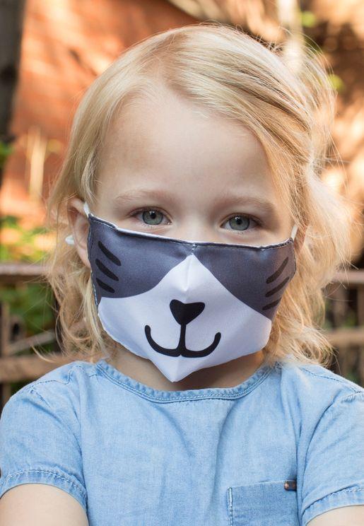 قناع وجه للاطفال بطباعة قطة