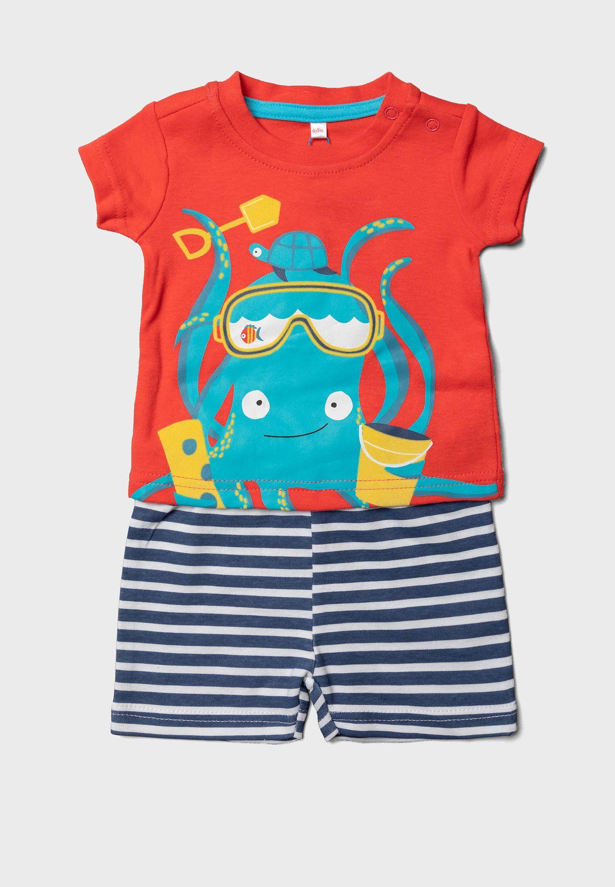 Infant Graphic T-Shirt + Striped Shorts Set