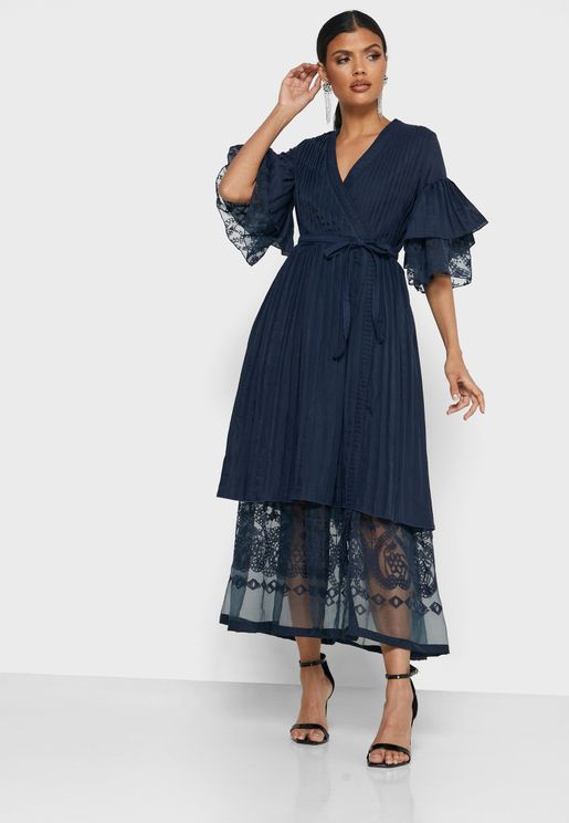 Wrap Front Double Layered Burnout Dress