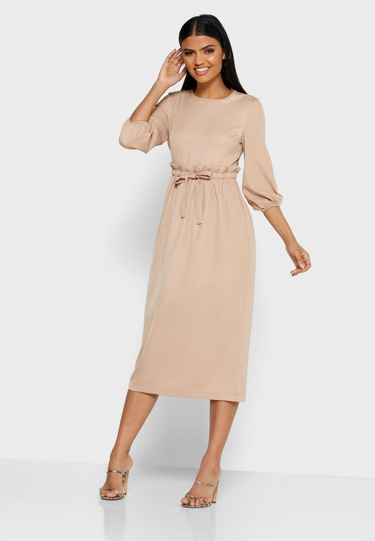 Drawstring Midi Dress