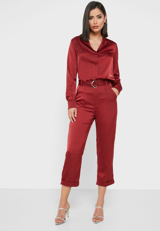 Sparkle Shirt Belted Pants Set