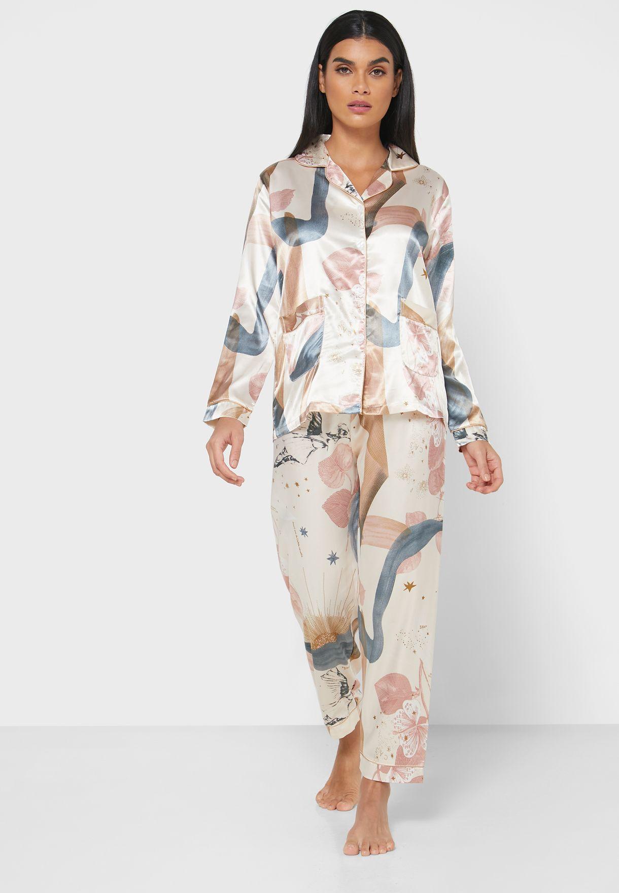 Floral Print Shirt Pyjama Set