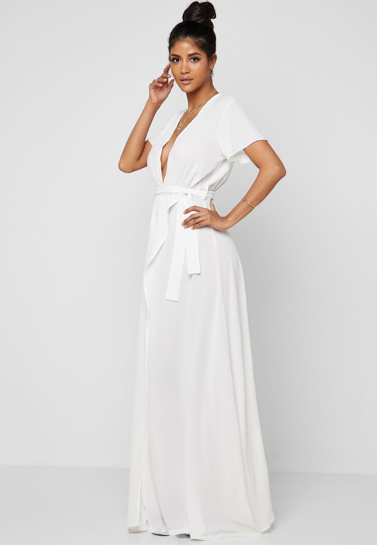 Plunge Neck Self Tie Maxi Dress