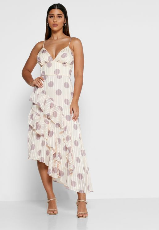 Oblivion Asymmetric Printed Plunge Dress