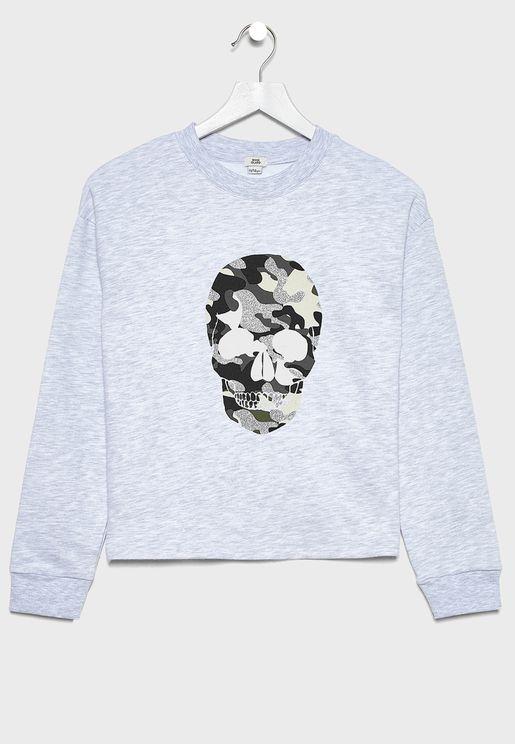 Kids Camo Skull Sweatshirt