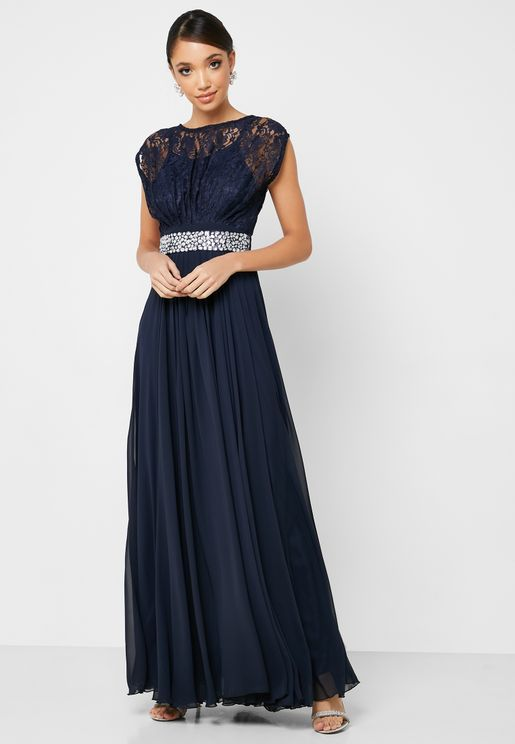 Lace Top Embellished Waist Maxi Dress