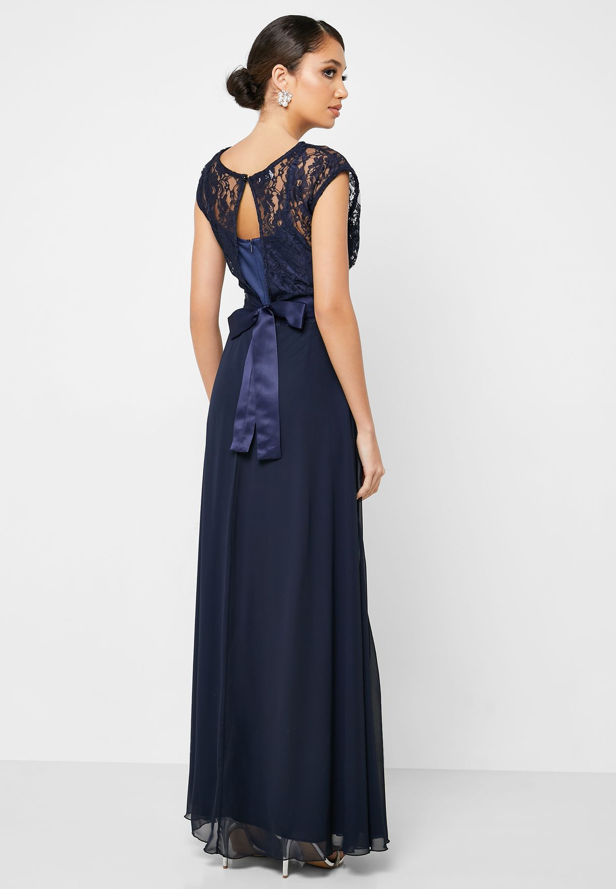 Belted Lace Maxi Dress