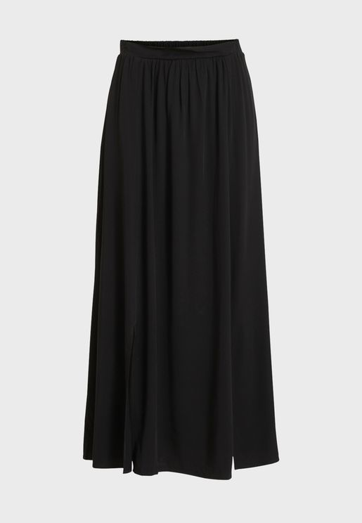 Shirred Waist Front Slit Skirt