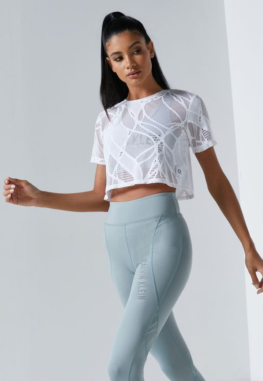 Graphic Lace Cropped T-Shirt