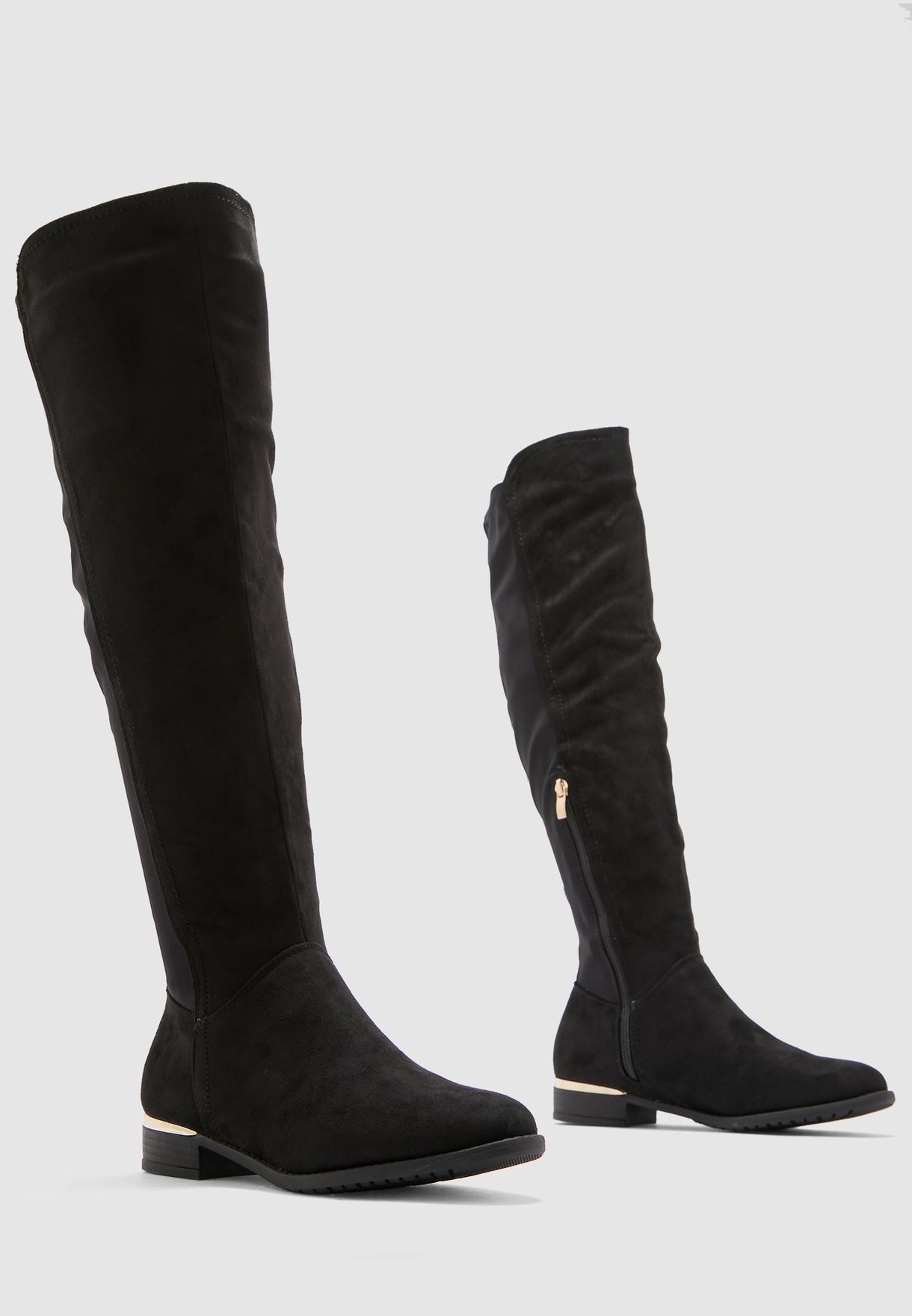 Knee High Boots With Metallic Details