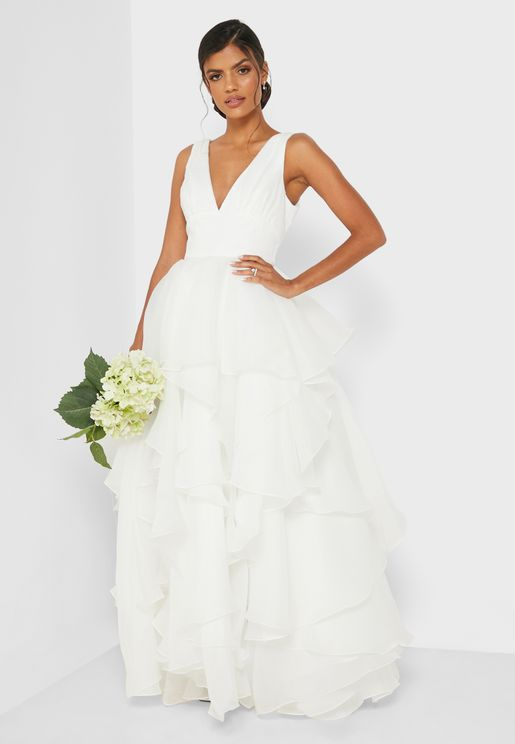 فستان عروس كشكش طبقات