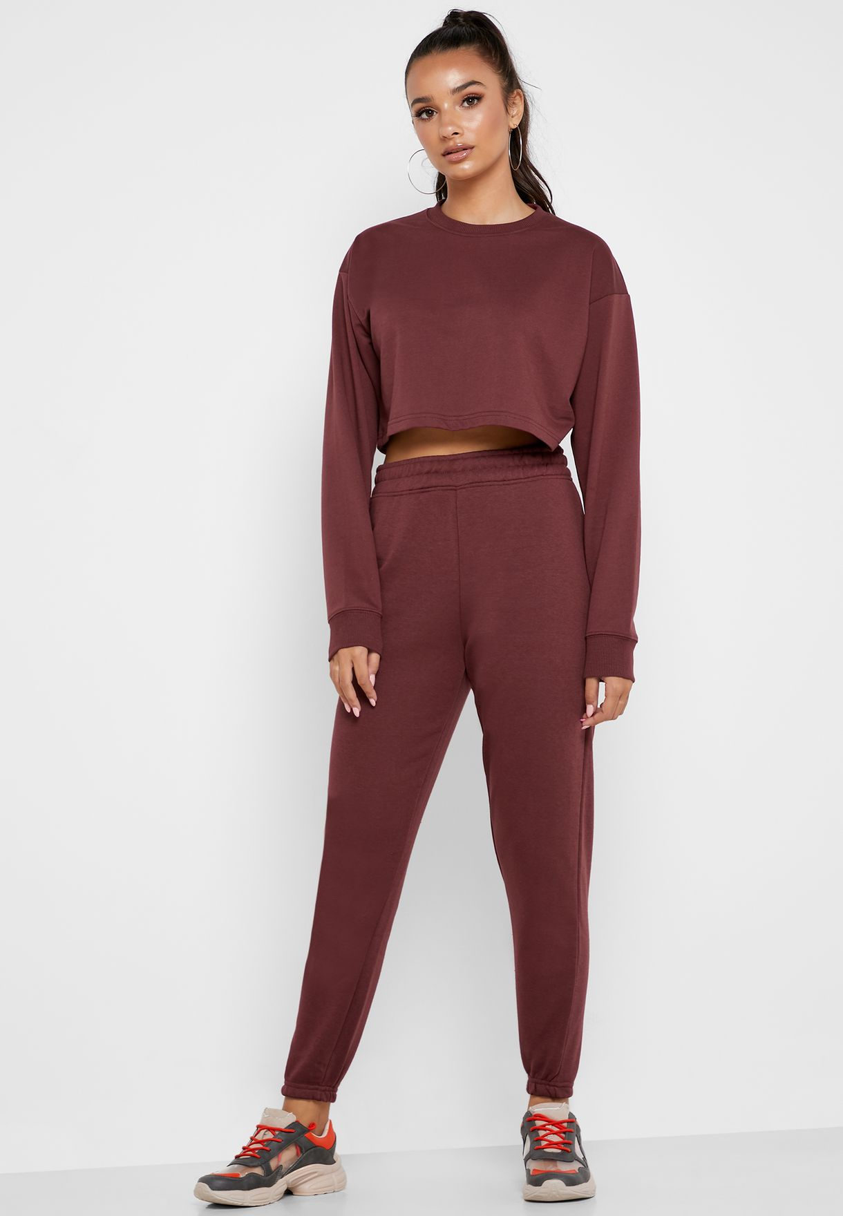Crop Sweatshirt & Joggers Set Co Ord