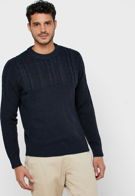 Ricardo Yoke Cable Knit Sweater