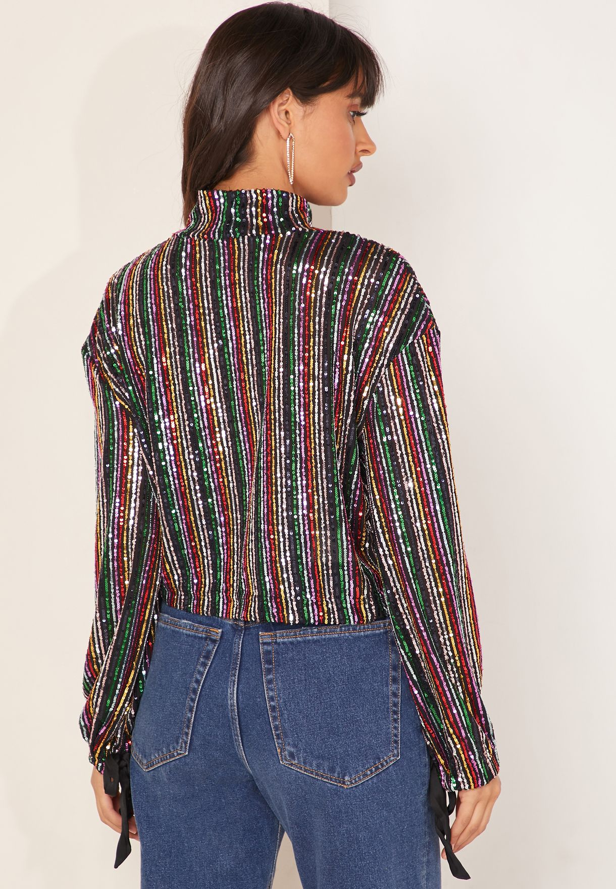Midnight City High Neck Striped Top