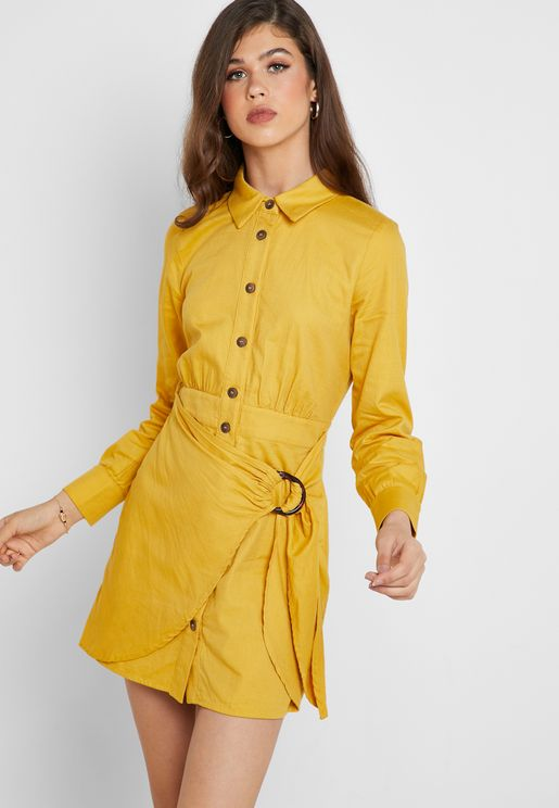 Belted Wrap Shirt Dress