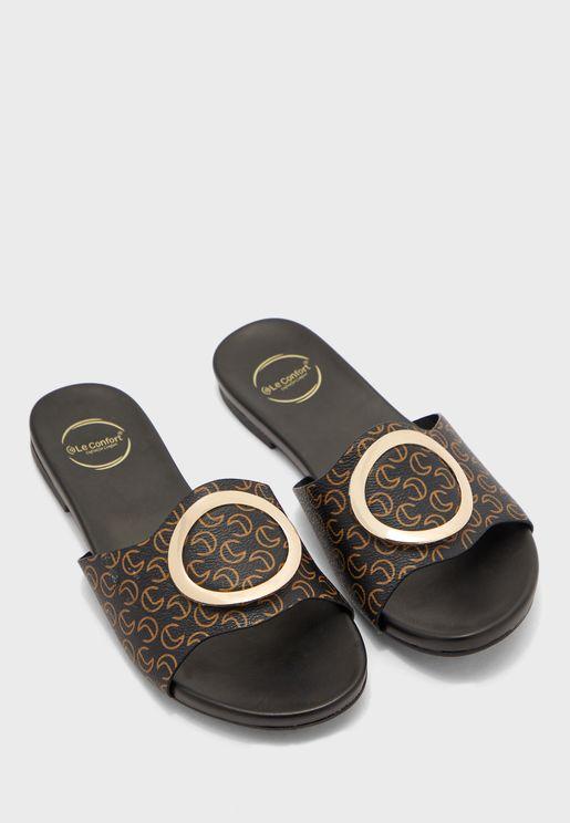 Buckle Detail Flat Sandal