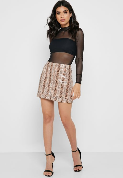 PU Snake Print Mini Skirt