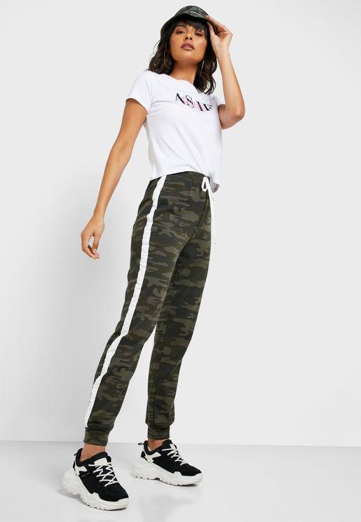 Side Stripe Detail Camouflage Pants