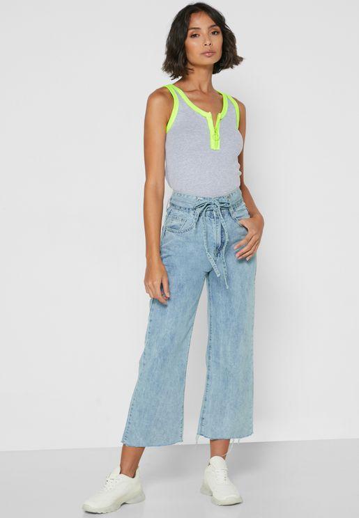 بنطال جينز باربطة خصر