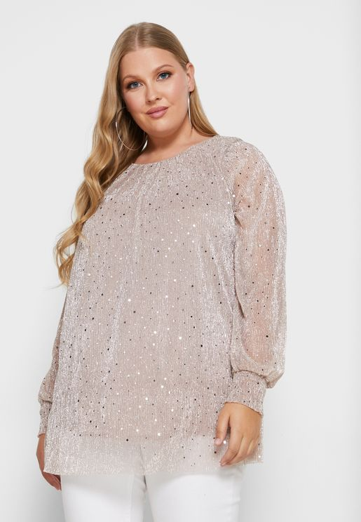 Sequin Shirred Cuff Top