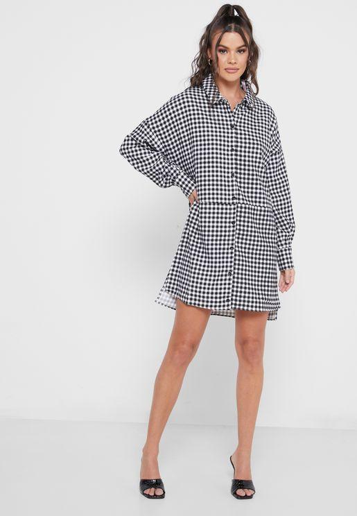Oversized Check Shirt Mini Dress