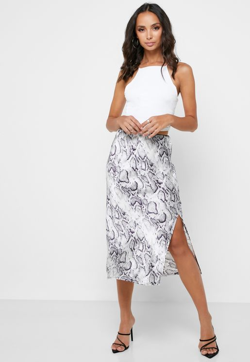 Printed Satin Slip Midi Skirt
