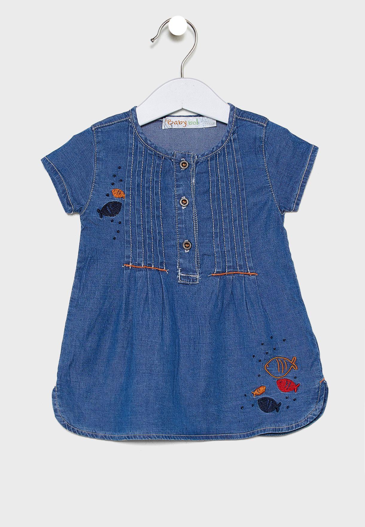 Infant Button Detail Denim Dress