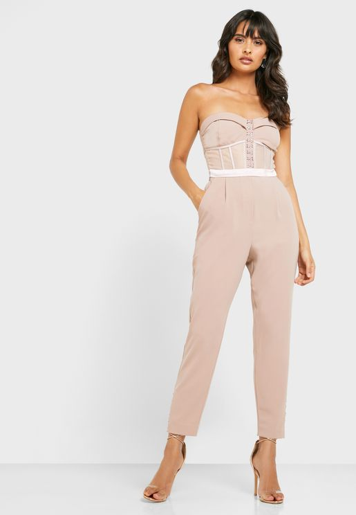Button Detail Bandeau Jumpsuit