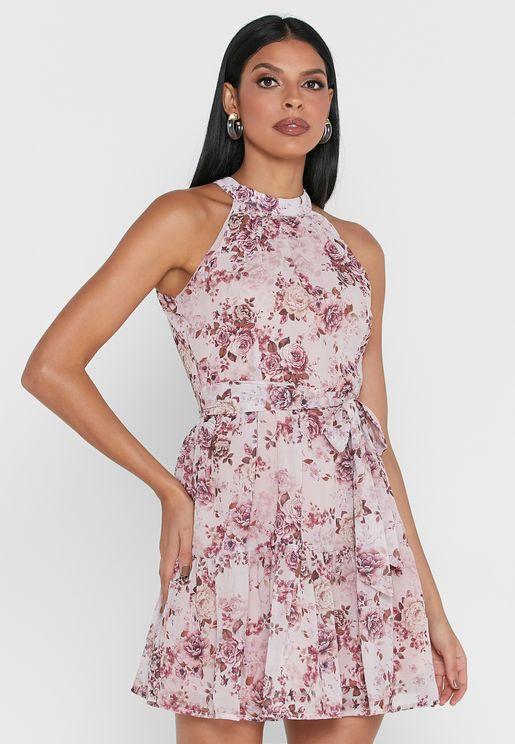 Floral Belted Halter Maxi Dress