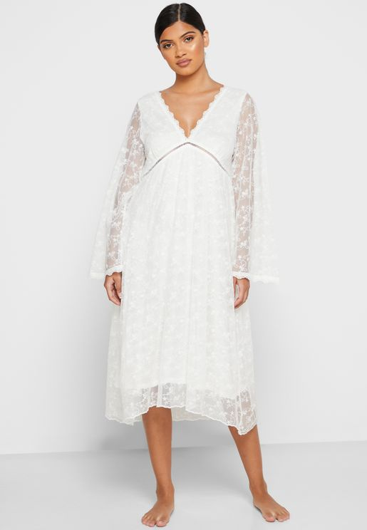 Textured Lace Detail Nightdress