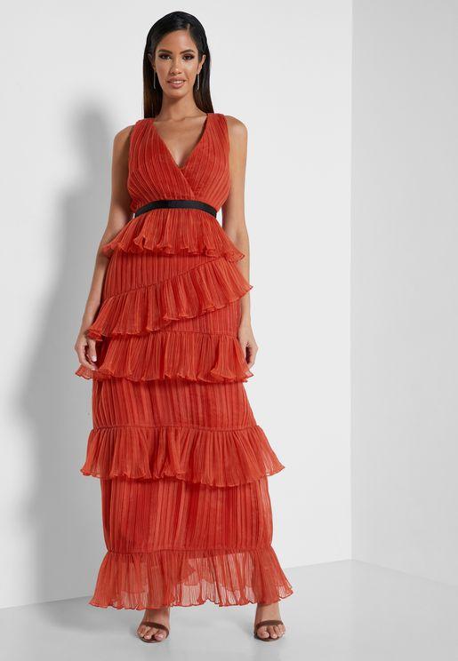 Ruffle Plunge Neck Dress