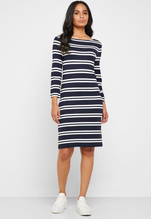 Scoop Neck Striped Dress