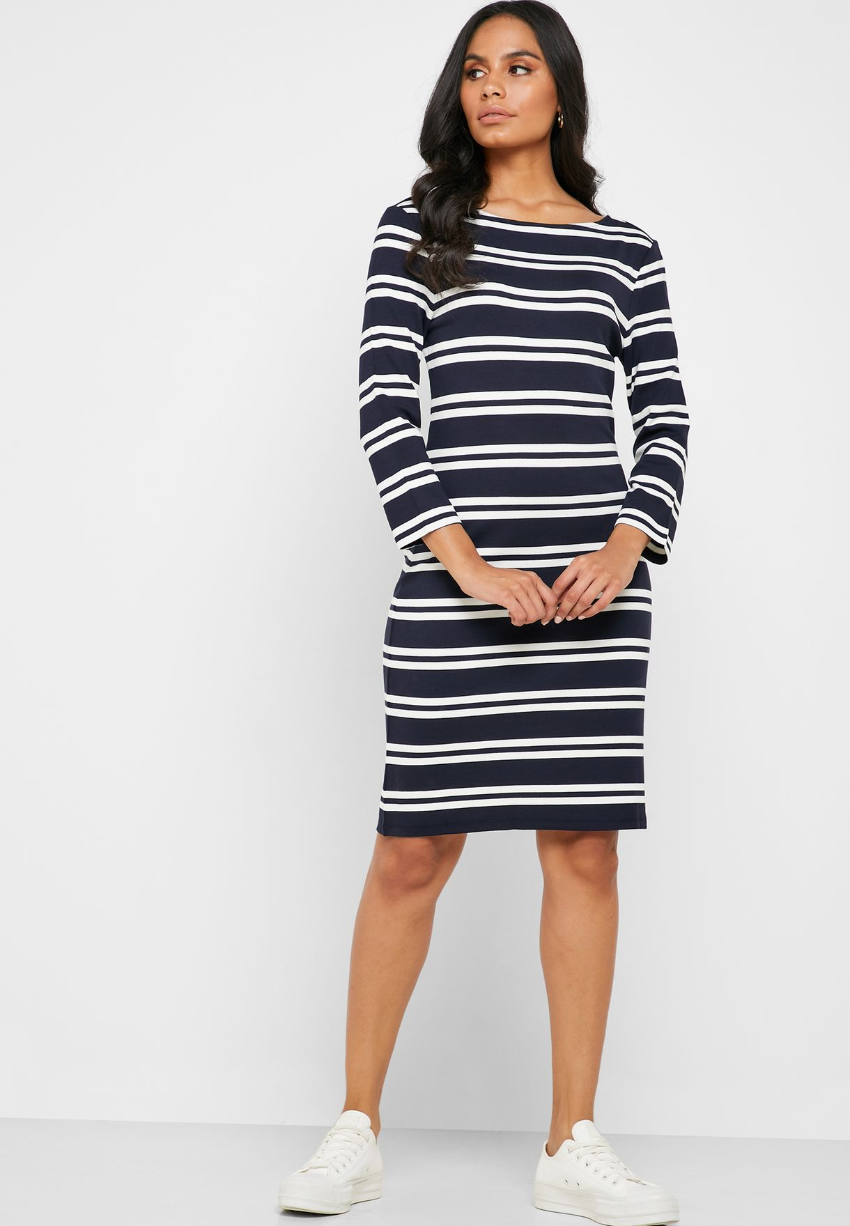 Scoop Neck Striped Dress