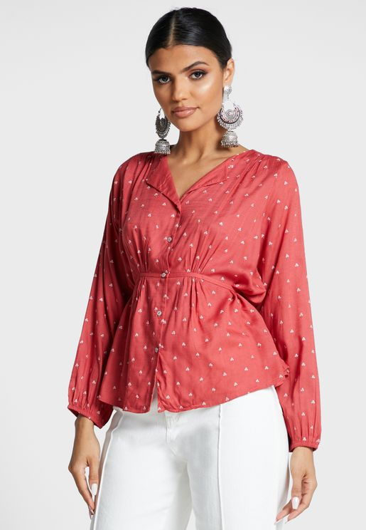 Ruched Waist Sequin Shirt