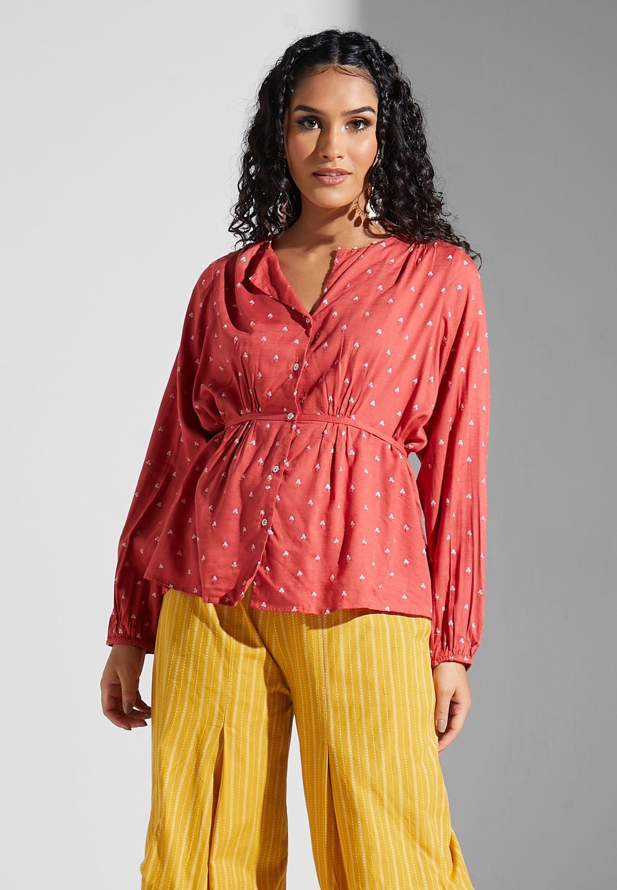 Ruched Waist Sequin Shirt