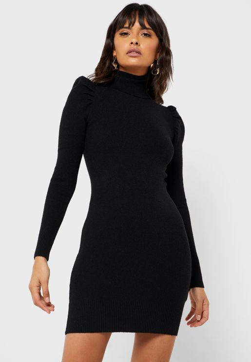 Roll Neck Puff Sleeve Dress