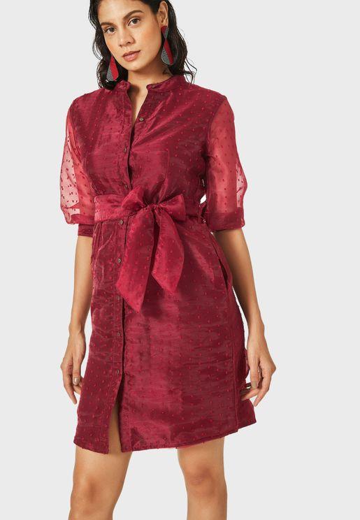 Sheer Sleeve Belted Shirt Dress