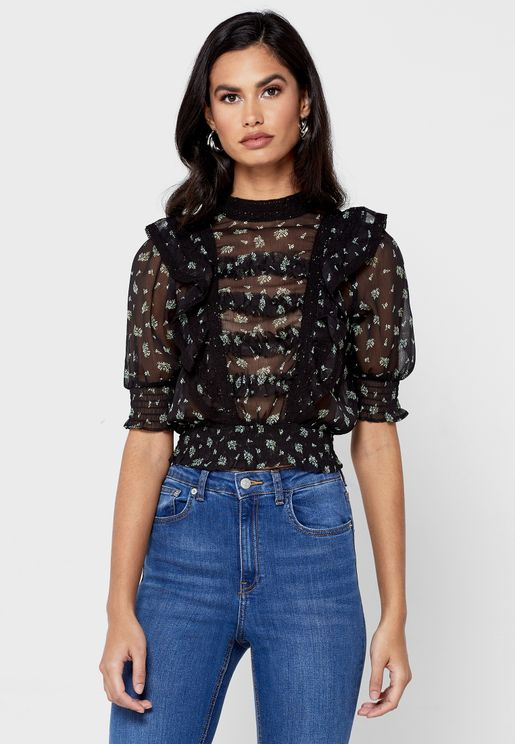 Printed Lace Detail Ruffle Top