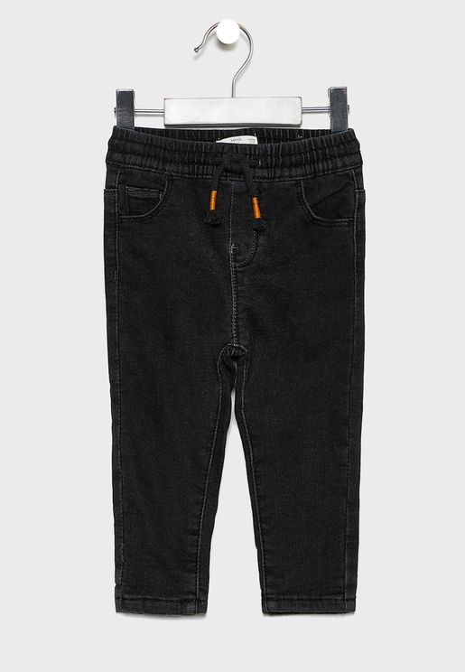جينز بخصر مطاطي وأربطة